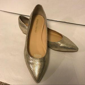 Ivanka Trump Pointed Toe Silver Flats 7.5M FLAW